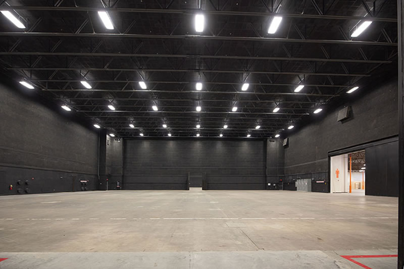 Stage 2 at Third Rail Studios: across Stage 2, door open to Stage 3