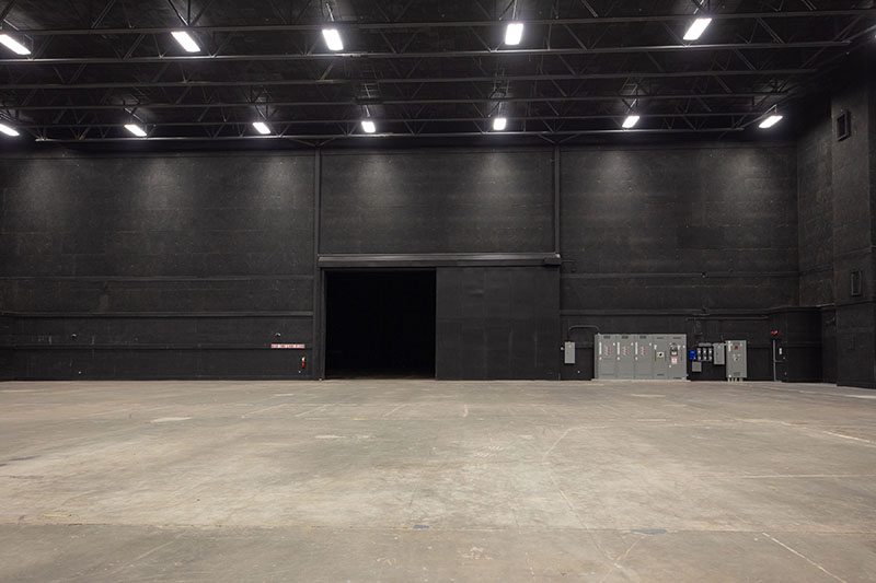 Stage 1 at Third Rail Studios: across the stage, facing exterior exit.